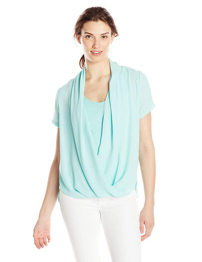 NYDJ Not Your Daughters Jeans SEAFOAM GREEN 2-Fer Fit Solution SHORT SLEEVES Top