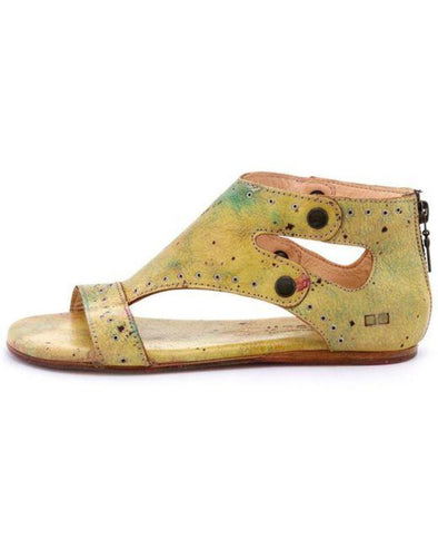 Bed Stu Women's Soto G Leather Grommet Flat Sandals Shoes Oilbird Lux (Multi-Color Yellows)