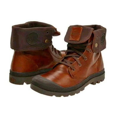 PALLADIUM Baggy Leather Women's Fold Over Sunrise/Chocolate Ankle Boots