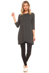 YELETE Women's Charcoal 3/4 Sleeve Tunic with Hidden Pockets