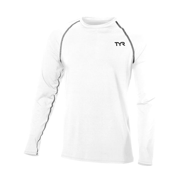TYR Men's Long Sleeve Rashguard Durafast Lite White Shirt Size XL