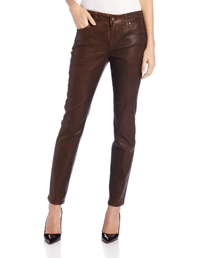 NYDJ Not Your Daughters Jeans COATED TERRA TAN HIDE TTAN Skinny Petite