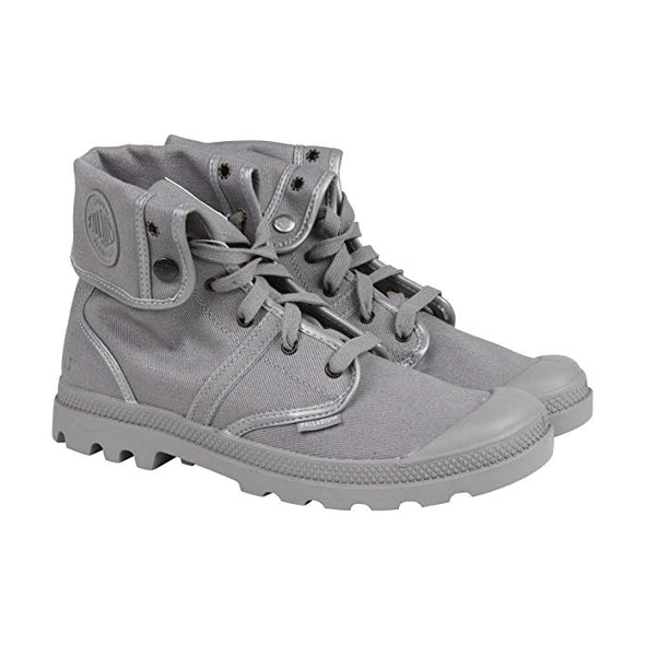 PALLADIUM Pallabrouse Baggy TWR Titanium/Reflective Men's Foldover Canvas Hiking Boots Metallic Accents