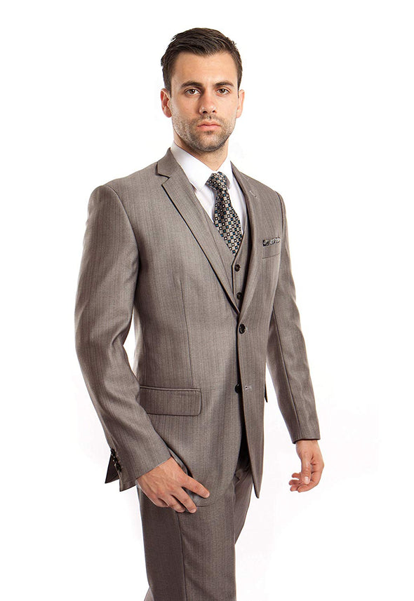 TAZIO Men's Suits Solid Two-Button Elegant Modern Fit 3 Piece Suit Size 48R/42