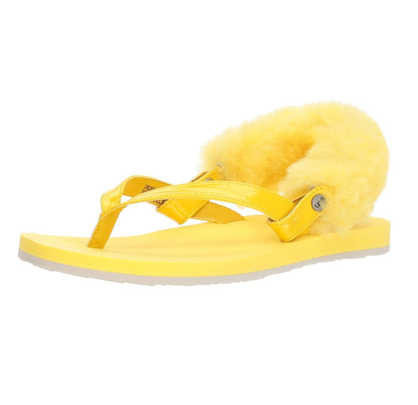 UGG LAALAA Beautiful Flip Flop Strappy Sandals Lemon Yellow LYLL Fuzzy Attachment