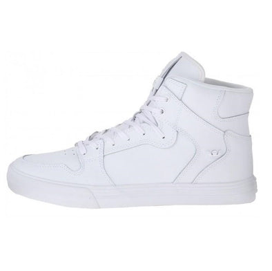 Supra Vaider Kid's Hi-Top Skate Boarding Shoes in White-White