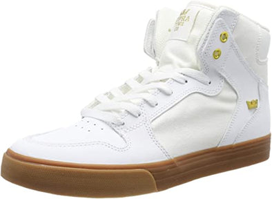 Supra Vaider Men's Hi-Top Skate Boarding Shoe White/Gold-LT Gum