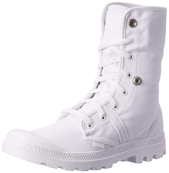 PALLADIUM Pallabrouse Baggy White Men's Canvas Fold Over Lace Up Hiking Boots
