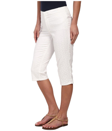 NYDJ Women's Kaelin Jacquard Optic White Skimmer Shorts Not Your Daughters Jeans