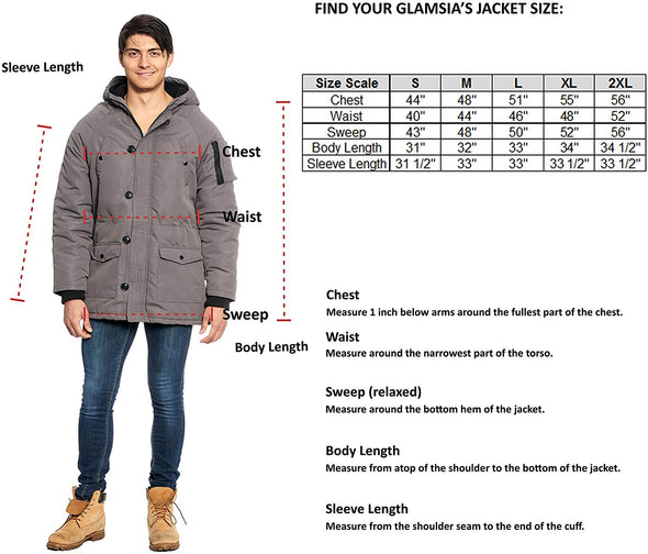 Yoki Men's Padded Jacket Inner Fleece Lining Front Zipper Off-Center Oversized Button Closures