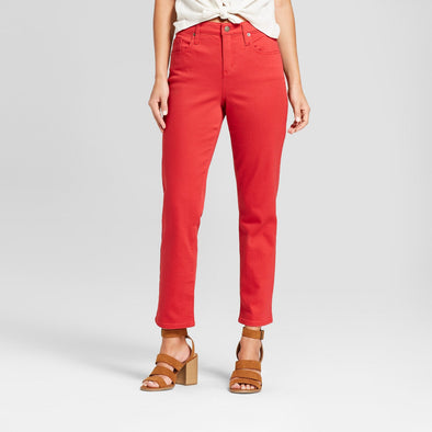 Universal Thread Women's HIGH RISE Straight Leg Red Solid Denim Jeans Plus Size