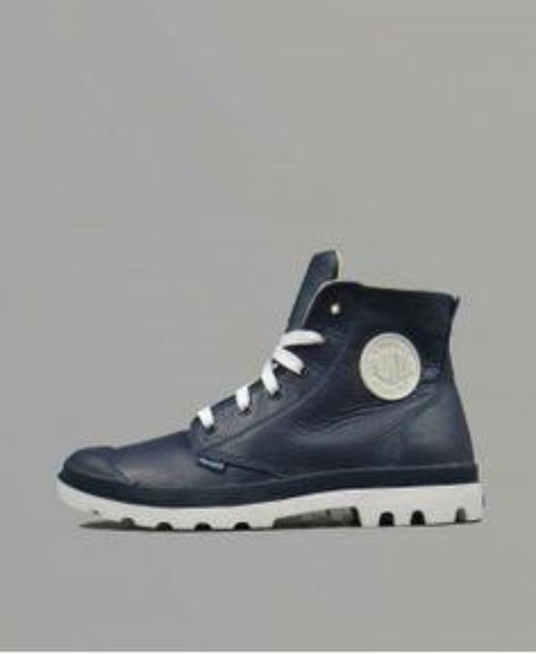 PALLADIUM Blanc Hi Lea Unisex Leather Indigo/White Lace Up Ankle Hiking Boots