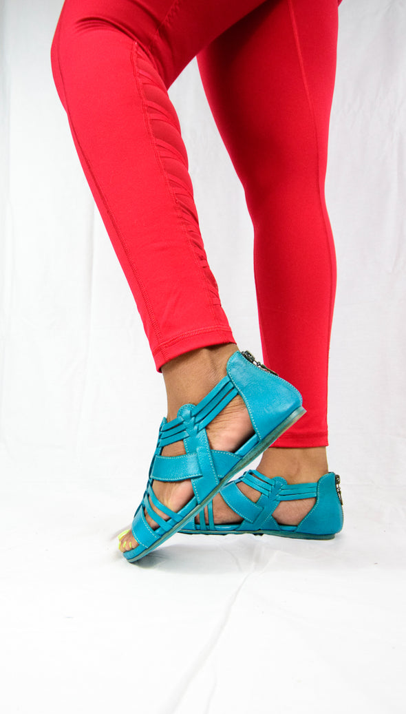Bed Stu CARA Betta Dip Dye Turquoise Gladiator Leather Sandals Back Zip