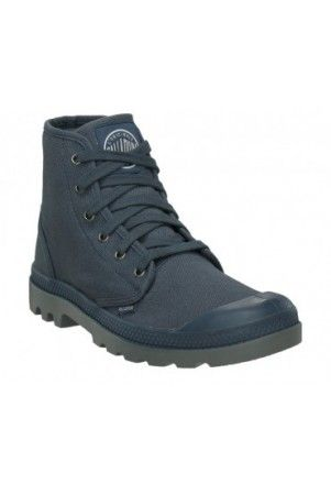 PALLADIUM Pampa Hi Women's Canvas Ankle Combat Hiking Boots in Indigo/Metal