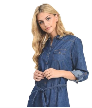 Black Label by C'est Toi Women's Chambray Denim Tunic Dress Size Small