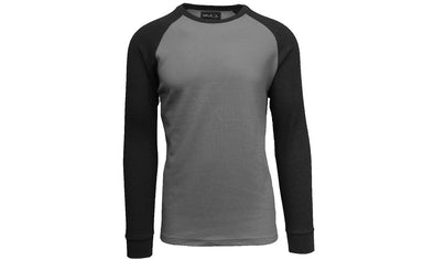 GALAXY by HARVIC Men's Raglan Thermal Long Sleeved Shirt in Charcoal