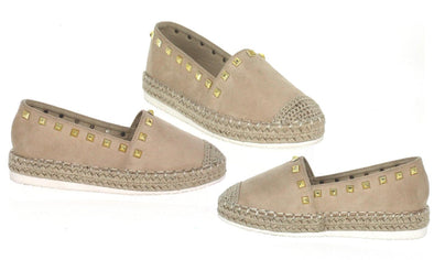 N DEMAND Beige Microsuede Espadrille Flats with Gold Studs Women's Size 9