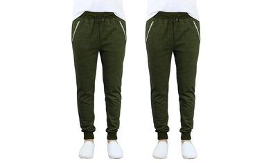 Galaxy by Harvic Men's Olive Jogger Pants Cuffed Ankle