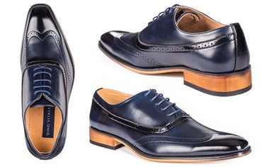 Gino Vitale Men's Dark Blue Brogued Wingtip Oxford Dress Shoes Size 13