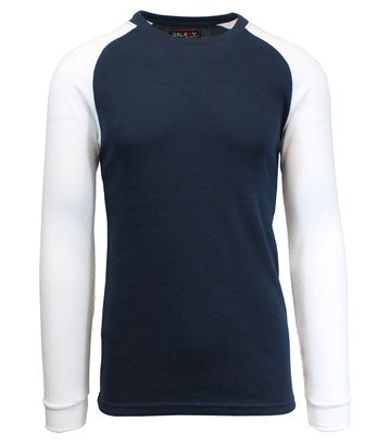 GALAXY by HARVIC Men's Raglan Thermal Long Sleeved Shirt in Navy/White