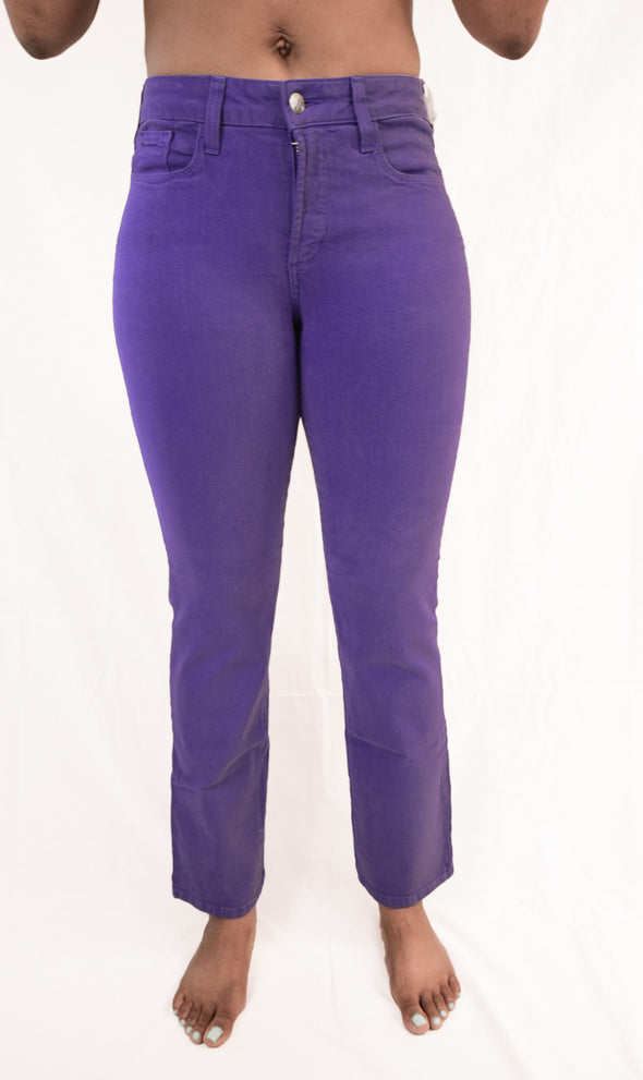 NYDJ Not Your Daughters Jeans IMPERIAL PURPLE Straight Leg 5 Pocket Petite Pants