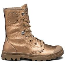 Palladium Baggy Metallic Leather Women's Bronze/Butternut Fold Down Collar Lace Up Ankle Hiking Combat Boots