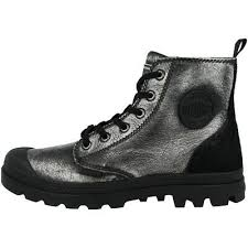 Palladium Pampa Hi Zip Pony Women's Cloudburst/Charcoal Gray Leather Ankle Hiking Combat Boots