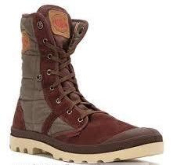 PALLADIUM Pallabrouse Baggy EX Suede Brown/Olive Drab/Mojave Desert Men's Quilted Multicolor Hiking Boots