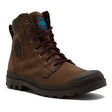 Palladium Pampa Cuff WP Lux Unisex Leather Lace Up Ankle Hiking Combat Boots in Chocolate/Diva Blue