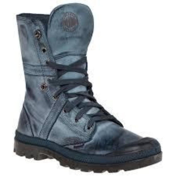 PALLADIUM Pallabrouse Baggy L2 Men's Fold Over Lace Up Combat Hiking Boots in Navy/Metal
