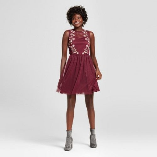 XHILARATION Burgundy Embroidered Floral Lace Dress Women's  Size S