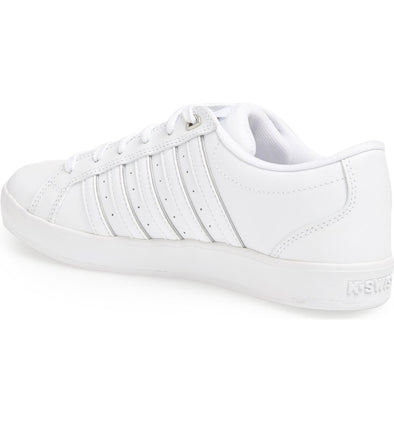 K SWISS Gallen III Men's Leather Low Top Tennis Shoes in White/Silver