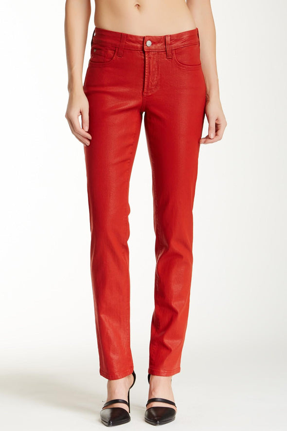 NYDJ Not Your Daughters Jeans Sheri Skinny COATED JASPER RED Pants Petite