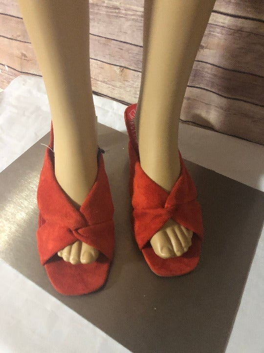 DV by DOLCE VITA Red Microsuede Knotted Addie Slide Sandals Women's Size 7