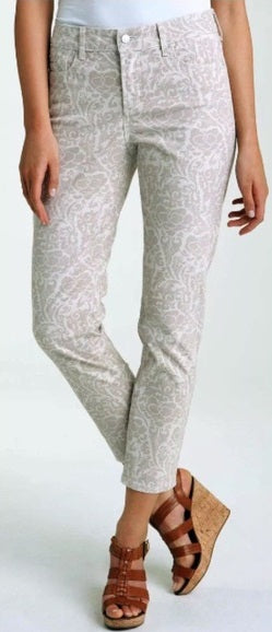 NYDJ Not Your Daughters Jeans Creme Grey Floral Ankle Petite Pants