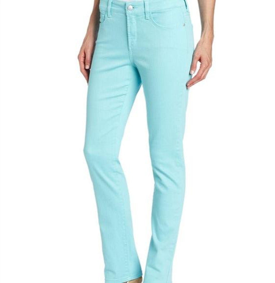 NYDJ Not Your Daughters Jeans SKINNY CHVBL AQUA Chevy Blue $104 Women's Petite Pants