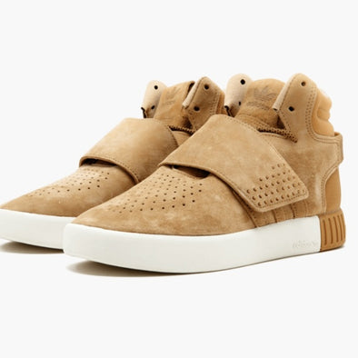 adidas Tubular Invader Strap Big Kid's Tan Suede Basketball Sneakers Size 6