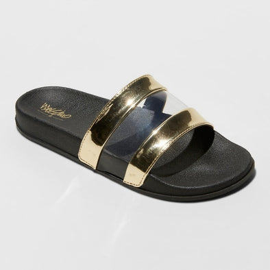 MOSSIMO Trystan Gold Footbed Slide Sandals Women's Size 6