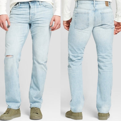 Goodfellow & Co Selvedge Slim Straight Men's Light Blue Distressed Denim Jeans