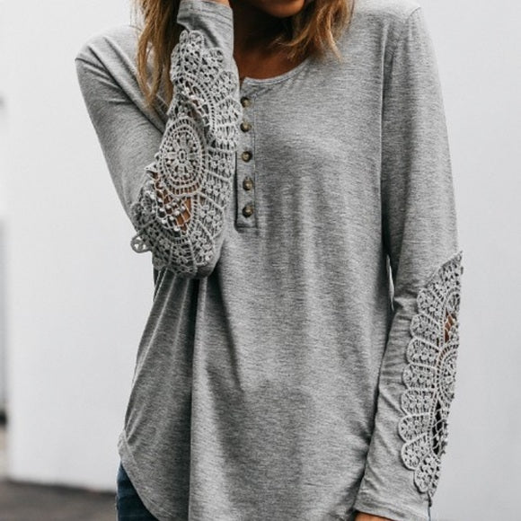 NWOT AMARYLLIS Grey Henley Top w/ Lace Crochet Cutout Sleeves Women's Size XL