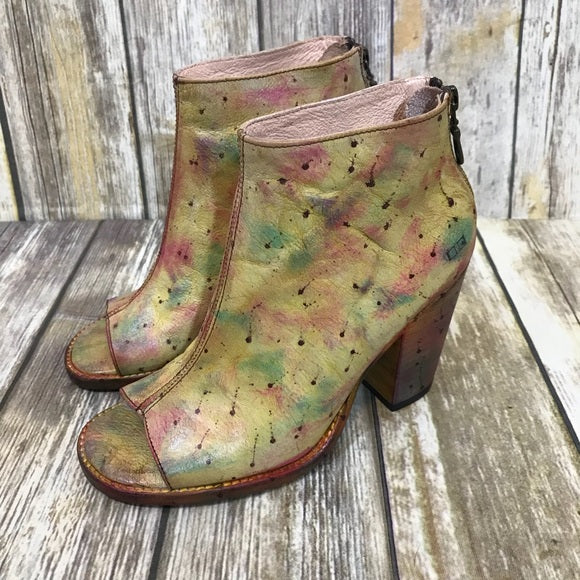 Bed Stu ONSET Peep Toe Chunk Hill Back Zipper Leather Boot Oilbird Lux (Yellow Gold Multi Color...AMAZING)
