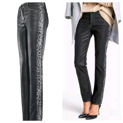 NYDJ Not Your Daughters Jeans COATED BLACK Tuxedo Stripe Snake Skin Petite