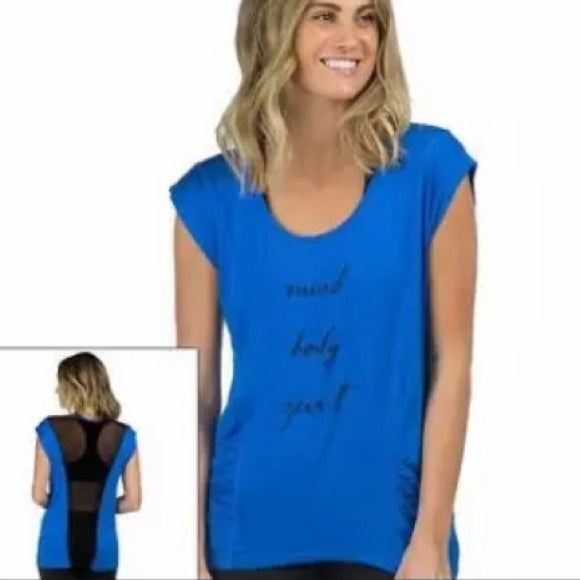 "PL Movement by Pink Lotus ""Mind Body Spirit"" Yoga Tee Women's Size S"