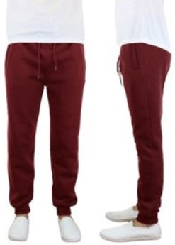 Galaxy by Harvic Men's Slim Fit Fleece Jogger Pants in Burgundy