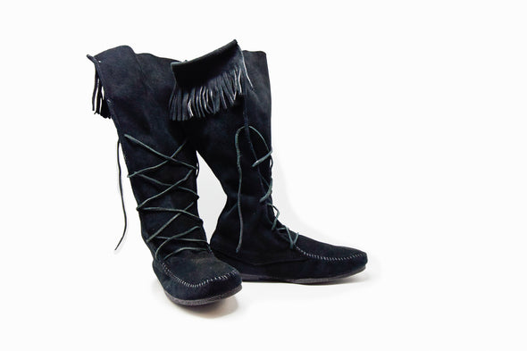 Minnetonka Moccasin Black Leather Suede Front Lace-Up Men's Tall Boots #1929