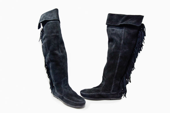 Minnetonka Women's Black Side Zip Back Fringe Over the Knee Boot 1690
