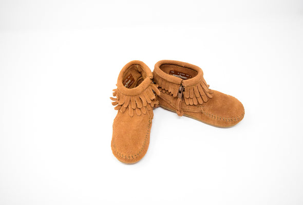 Minnetonka Dusty Brown Infant Toddler Double Fringe Suede Bootie #1292