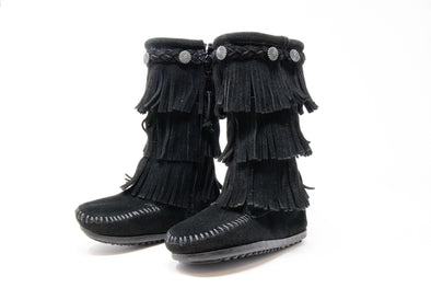 Minnetonka Black Boots Girls 3-Layer Fringe Suede Braid Trim Side Zip #2659