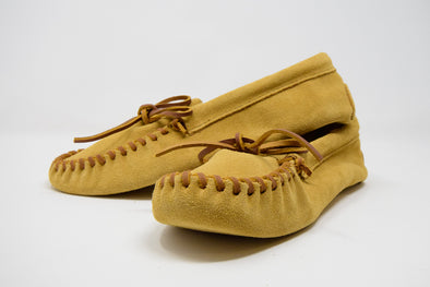 Minnetonka Men's Leather Suede Laced Softsole Moccasin Slipper Shoe Tan #701