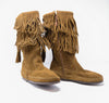 Minnetonka Women's Dusty Brown Suede Two Layer Fringe Calf Hi Boot #1688